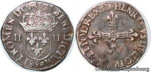 S2491 Rare Henri III Quart d'écu 1/4 croix de face 1588 Rennes Silver