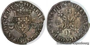 S2495 Rare Douzain aux croissants Francois II Henri II 1550 O Moulis