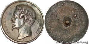S2572 Rare Médaille Uniface Avers Napoléon III Empereur Caque Argent
