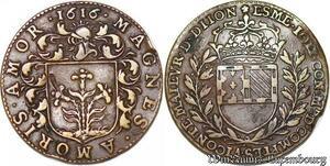 S3164 Rare Jeton Louis XIII Edme Joly Maitre Comptes Maire Dijon 1616 TTB+++