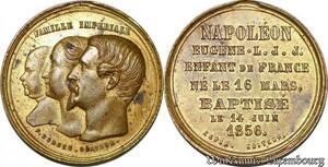 S3281 Médaille Famille Impériale Napoléon Eugene 1850 Baptème 1856 Bordes