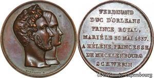 S3320 Rare Médaille Louis-Philippe I Mariage Duc d'Orléans Hélène 1837