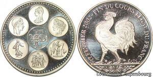 S3454 Médaille Essai Europe 17 FévrI 2002 Fin du Cours Légal Du Franc