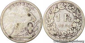 S3519 Suisse1 Franc Helvetia 1861 B Argent Silver - Faire Offre