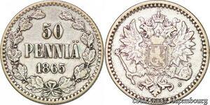 S3551 Rare Finland 50 Penniä 1865 Argent Silver XF !- Faire Offre