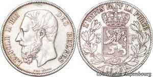 S3725 Belgium 5F Léopold II Roi des Belges 1873 Argent Silver - Faire Offre