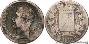 S3798 1 Franc Charles X Matrice du Revers à Quatre Feuilles 1830 M Toulouse