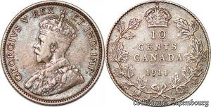 S3835 Canada 10 Cent of George V 1911 Argent Silver - Faire Offre