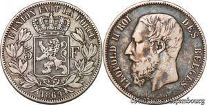 S3838 Belgium 5 F Leopold II Roi des Belges Argent Silver - Faire Offre