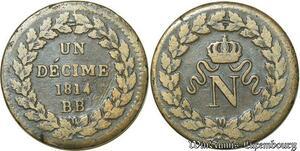 S128 Rare Un Decime N Couronné BB Strasbourg 1814 sans points ->F.Offre