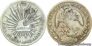 S225 Republic Mexico 8 Reales 1877 Go-FR Chinese Chopmarks Silver