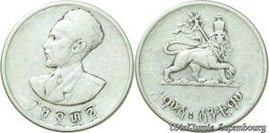 S372 Ethiopie Selassie 50 Cents centimes 1936 Argent Silver -> Make offer