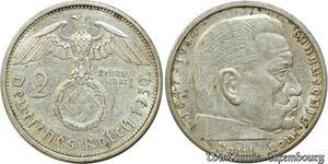S458 Allemagne 2 Marks Von Hinbenburg 3rd Reich 1939 A Silver