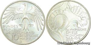 S476 Allemagne 10 Marks Olympiades Munich D Munich 1972 Argent Silver FDC