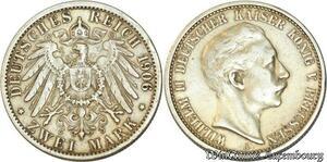 S481 Allemagne 2 Marks Wilhelm II A 1906 Argent Silver - Make Offer