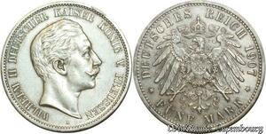 S518 Germany Prusse 5 Marks Guillaume II 1907 A Berlin Argent Silver AU