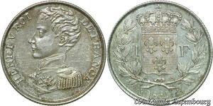 S572 1 Franc Henri V 1831 Argent Silver FDC ! Un Bijou -> Faire Offre