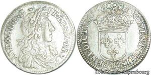 S697 1/12 Ecu Louis XIV buste Juvénile 1660 B Rouen Argent Silver