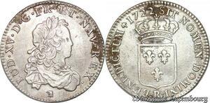 S708 Louis XV 1/3 écu de France Louis XV 1722 R Orléans Argent TTB ++