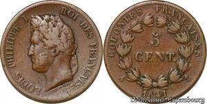 S1035 Colonies 5 Centimes Louis Philippe A Guadeloupe 1841 -> Faire Offre