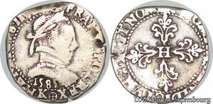 S1116 Rare R2 Henri III demi-franc au col plat 1585 K Bordeaux Argent