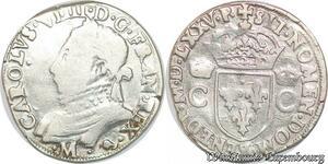 S1150 Henri III 1574-1589 au nom Charles IX Teston 1575 Mtoulouse Argent