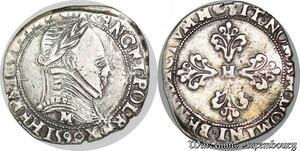 S1156 Rare Henri III sous la Ligue demi-franc col plat 1590 M Toulouse Argent