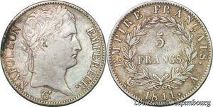 S1706 5 Francs Napoléon Empereur 1811 A Paris Argent Silver -> Faire Offre