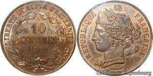 S1855 Rare 10 Centimes Concours 1848 Domard PCGS SP64 FDC