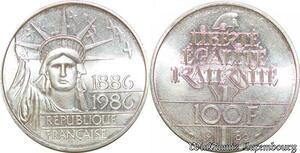 S1879 100 Francs Statue de la liberté 1986 FDC Argent Silver - Faire Offre