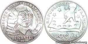 S1881 100 Francs René Descartes 1991 FDC Argent Silver - Faire Offre
