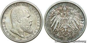 S1934 Germany 2 Marks Deutsches Reich Wilhelm II Wuerttemberg 1907 F
