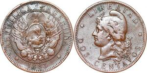 P0002 Argentina 2 Centavos Capped liberty head 1883 -> Make offer