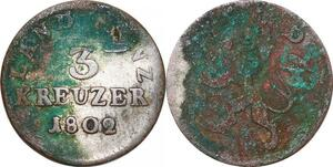 P0009 Germany Hessen Darmstadt 3 Kreuzer Ludwig X 1802 KM256 -> Make offer