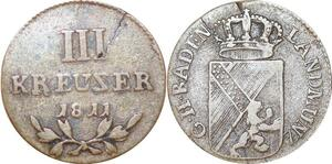 P0020 Scarce Germany Error Baden 3 Kreuzer Karl Ludwig Friedrich 1811 XF