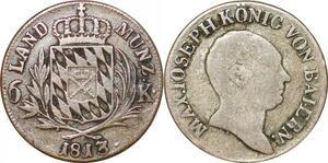 P0024 Germany Bavaria 6 Kreuzer  Maximillian IV Joseph 1813 Silver