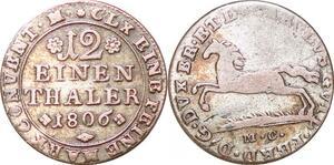 P0026 Germany Brunswick Wolfenbüttel 1/12 Thaler Wilhelm Ferdinand 1806 Silver