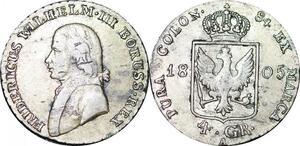 P0028 Germany Prussia 4 Groschen Friedrich Wilhelm III 1805 A Silver -> M offer