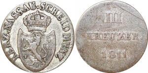 P0031 Scarce Germany Nassau 3 Kreuzer 1811 KM30 Silver -> Make offer