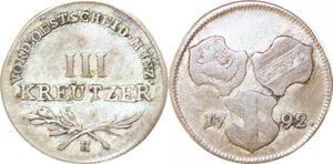 P0032 Germany Austria Günzburg 3 Kreuzer Vorderoesterreich 1792 H ->M offer