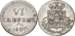 P0047 Germany Würzburg 6 Kreuzer Ferdinand 1807 Silver -> Make offer