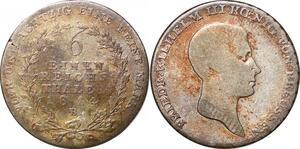P0054 Germany Prussia 1/6 Reichsthaler Friedrich Wilhelm III 1814 B Silver