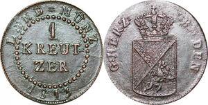 P0065 Scarce Germany Baden Kreuzer Karl Ludwig Friedrich 1813 AU !!