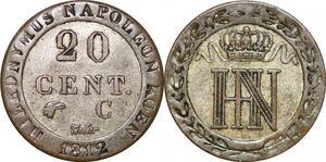 P0087 Germany Westphalia 20 Centimes Jerome Napoleon 1812 C Cassel Silver AU