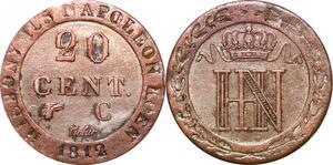 P0088 Germany Westphalia 20 Centimes Jerome Napoleon 1812 C Cassel Silver AU