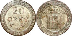 P0089 Germany Westphalia 20 Centimes Jerome Napoleon 1812 C Cassel Silver UNC