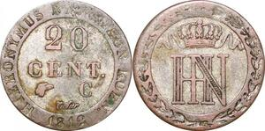 P0093 Germany Westphalia 20 Centimes Jerome Napoleon 1812 C Cassel Silver