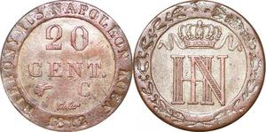 P0094 Germany Westphalia 20 Centimes Jerome Napoleon 1812 C Cassel Silver UNC