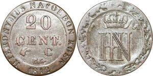 P0095 Germany Westphalia 20 Centimes Jerome Napoleon 1812 C Cassel Silver