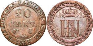 P0099 Germany Westphalia 20 Centimes Jerome Napoleon 1812 C Cassel Silver UNC
